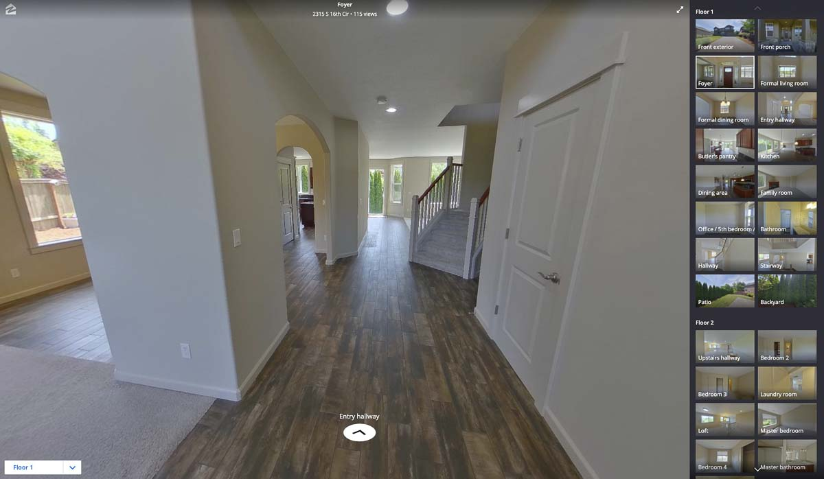 Entering a house listed by Cano Real Estate in Ridgefield with the 360 degree virtual tour is shown here. Photo courtesy of Cano Real Estate