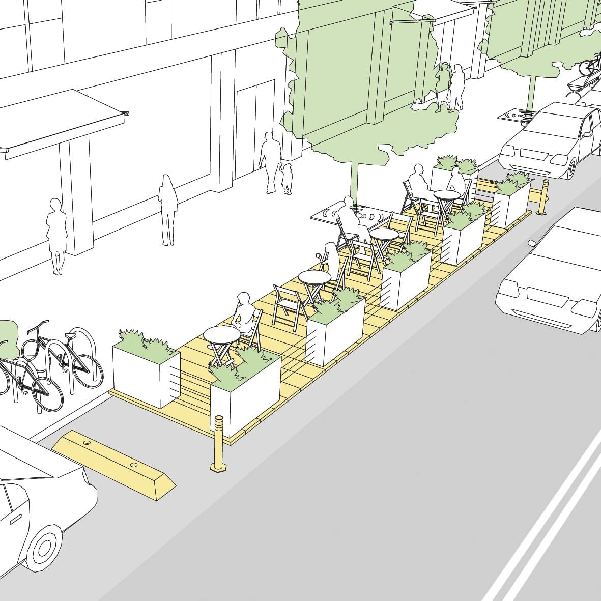 Permitted parklets provide restaurants and retailers the opportunity to expand their service to an outdoor space in order to achieve required physical distancing. Image provided by city of Battle Ground