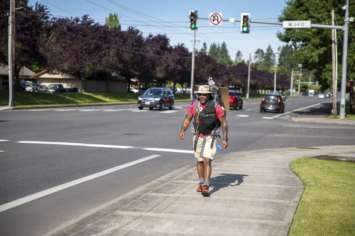 Eddie Odoms walked from Skyview High School in Salmon Creek to the Clark County Courthouse in downtown Vancouver. Photo by Jacob Granneman