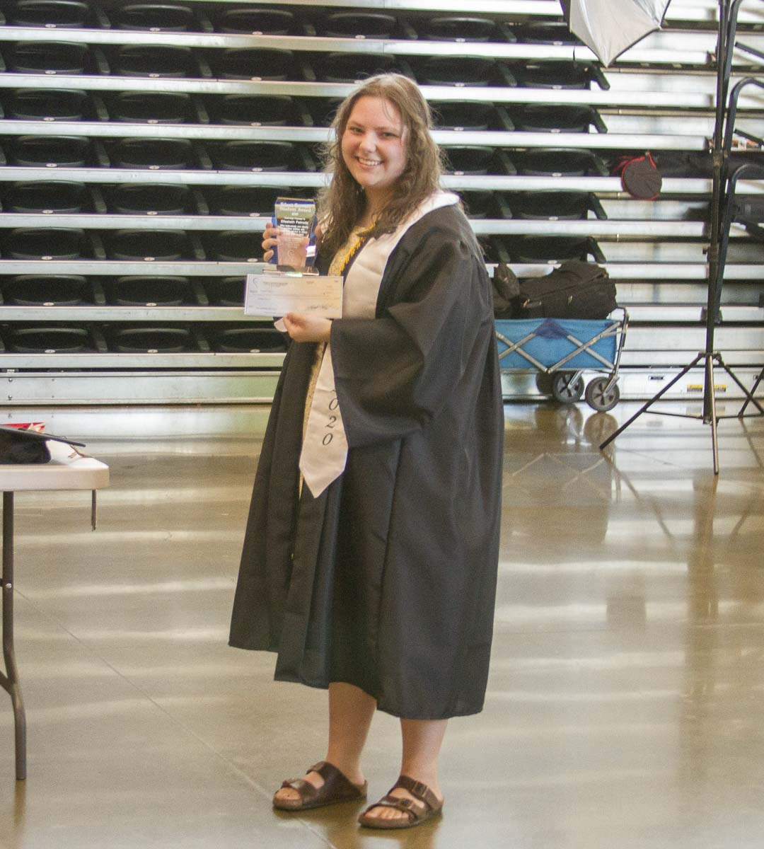 Following graduation from high school this summer, Elisabeth Patnode received the award for the countless hours of community service she performed. Photo courtesy of Woodland Public Schools