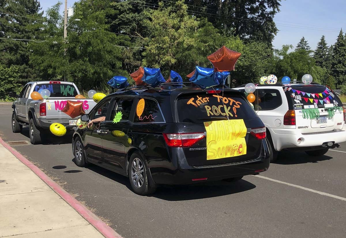 Union Ridge Elementary School teachers decorated their cars with signs and balloons for a car parade to mark the end of the school year. Photo courtesy of Ridgefield Public Schools