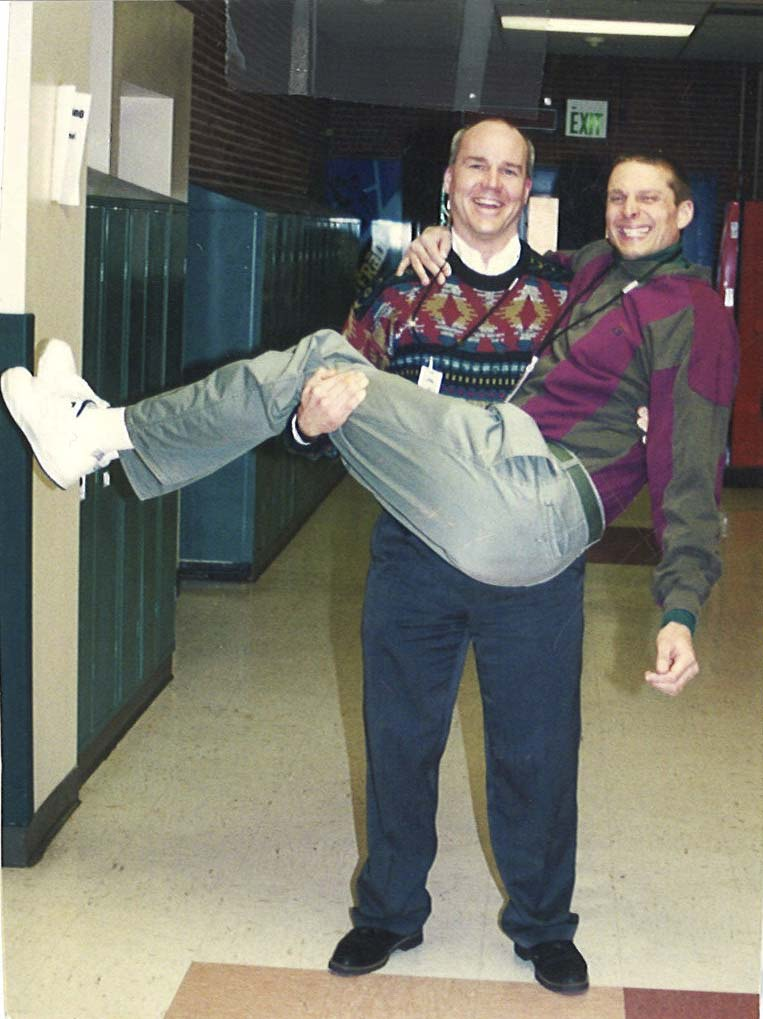 John Shoup and Dan Uhlenkott have been the principal and assistant principal team of Woodland High School for two decades. Photo courtesy of Woodland Public Schools