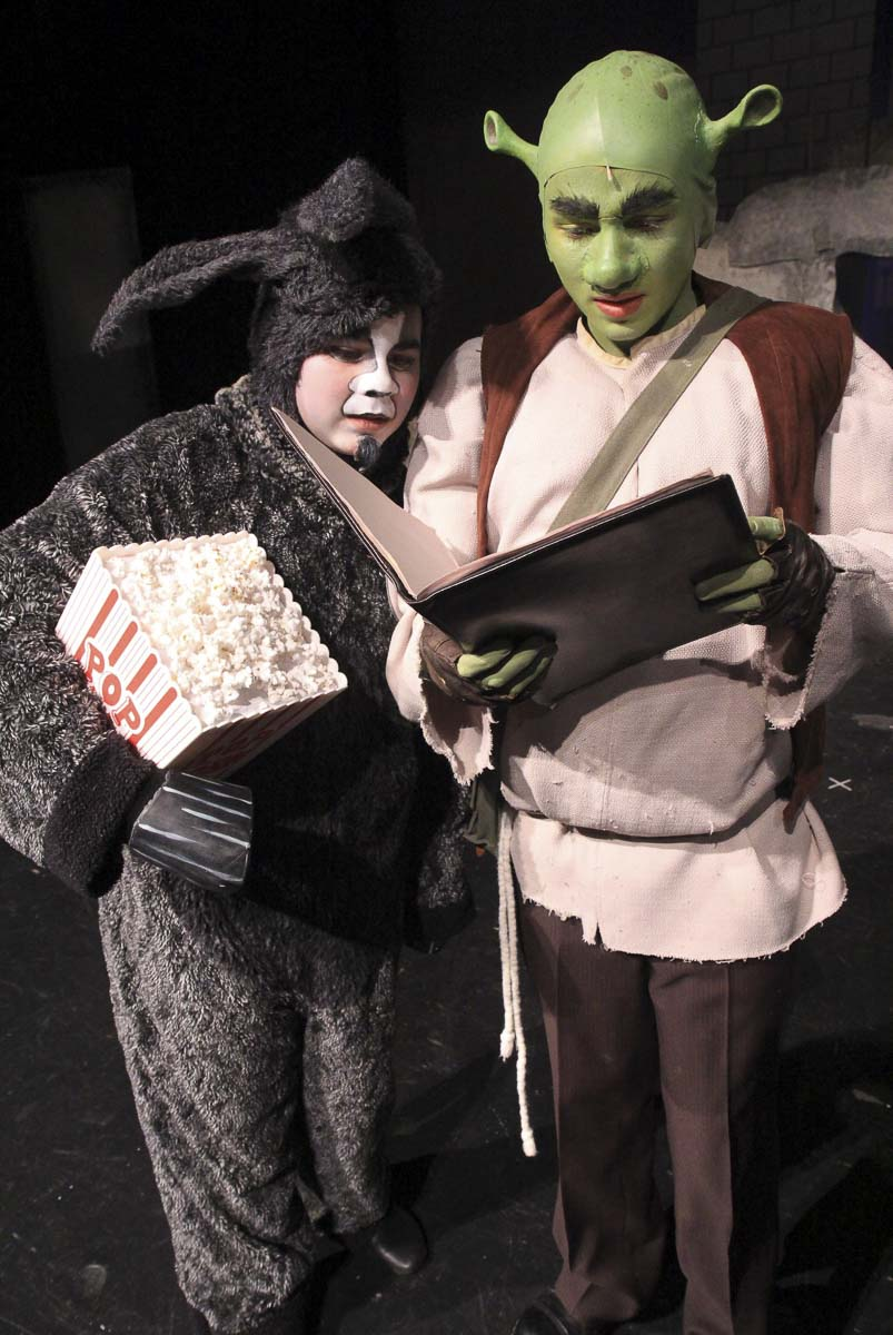 Jarod Beideck as Donkey in Journey's Shrek (left) was nominated for a PAMTA. Also seen here is Josiah Bartell, who played Shrek (right). Photo courtesy of Journey Theater