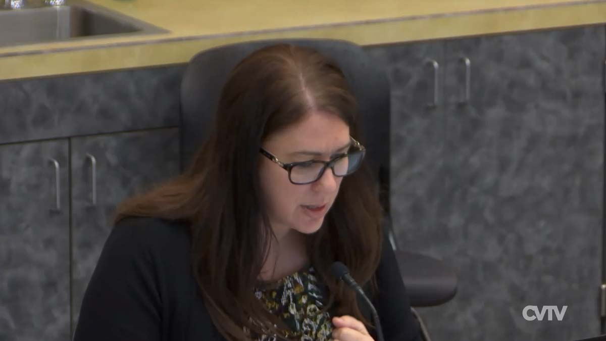 "Interim County Manager Kathleen Otto Otto said her immediate focus is the county's response to COVID-19, ""including supporting Public Health, they are doing the work, assisting staff with operation impacts, budget implications and communication.'' Image courtesy of CVTV"
