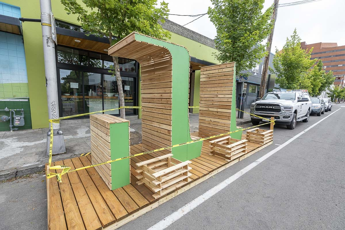 Designed by LSW Architects, this parklet outside of The Mighty Bowl in downtown Vancouver is an example of how restaurants can adapt during the coronavirus pandemic. Photo by Mike Schultz