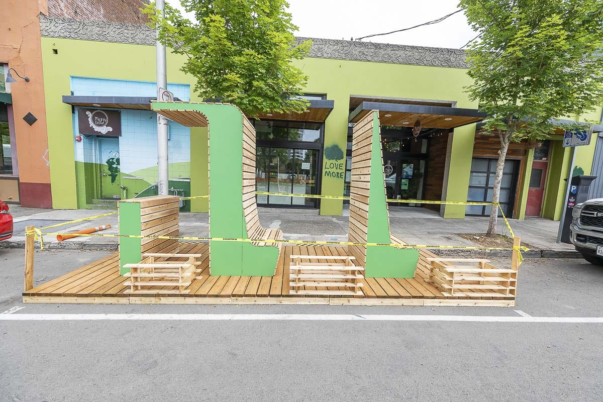 This parklet outside of The Mighty Bowl in downtown Vancouver is one example of how restaurants could expand their business during the coronavirus pandemic. Photo by Mike Schultz
