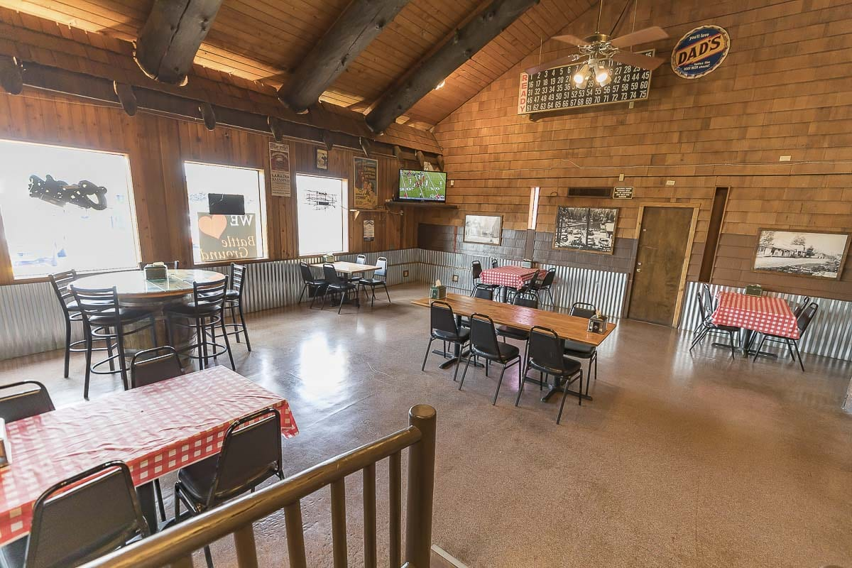 The dining area inside Rocky's Pizza in Battle Ground features fewer tables and more spacing to accommodate rules under Phase 2 of reopening. Photo by Mike Schultz