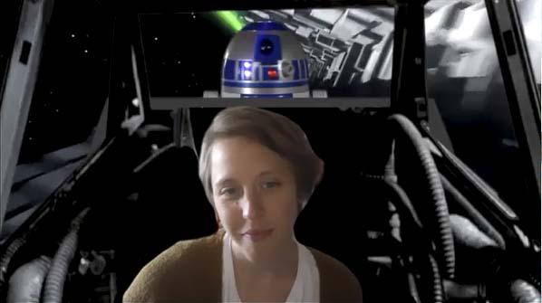 Speech Language Pathologist Hillary Betzen is shown here with her Star Wars-themed Zoom background. Photo courtesy of Battle Ground Public Schools