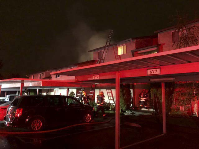 Ten apartment units were not habitable due to damage caused by the blaze, displacing at least 25 people at Sunpointe Apartments in Vancouver. Photo courtesy of Vancouver Fire Department