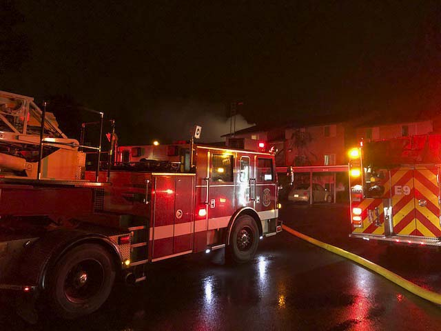 Late Saturday night, the Vancouver Fire Department responded to a two-alarm fire in the apartment building at 900 SE Park Crest Drive in Vancouver. Photo courtesy of Vancouver Fire Department