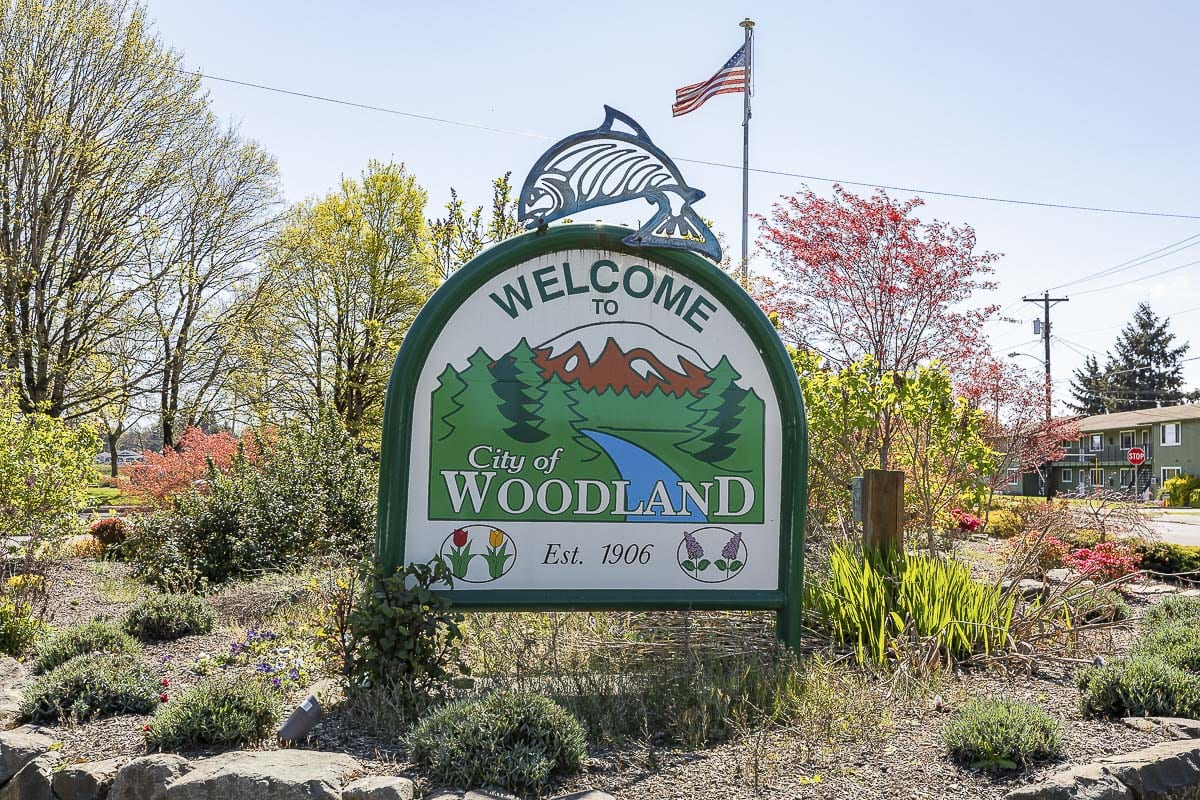 A sign welcoming people to Woodland on the edge of town. Photo by Mike Schultz