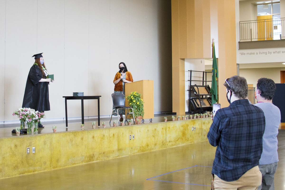 The staff of TEAM High School recognized each of their more than 30 graduates with individualized commencement ceremonies - one every 15 minutes - all day on Saturday. Photo courtesy of Woodland Public Schools