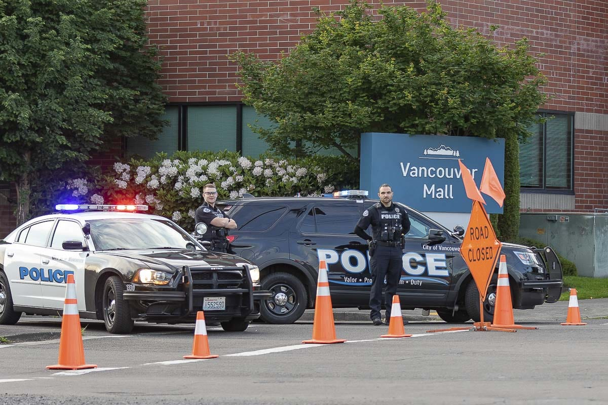 Vancouver Police officers blocked all of the entrances to the Vancouver Mall Sunday evening after reports of possible protests targeting the property. Photo by Mike Schultz