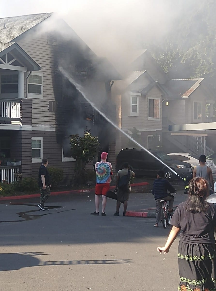 Vancouver Fire Department crews were dispatched Wednesday to the report of a fire at 11301 NE 7th Street at the Autumn Chase Apartments. A 16-plex building at the complex was involved in the blaze. Photo courtesy of Charles Pugh