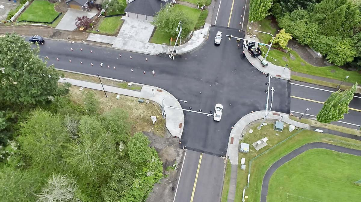 The intersection of Brady Road and NW 16th Avenue, shown here, will be closed in the very early morning hours this week for paving. Photo courtesy of the city of Camas