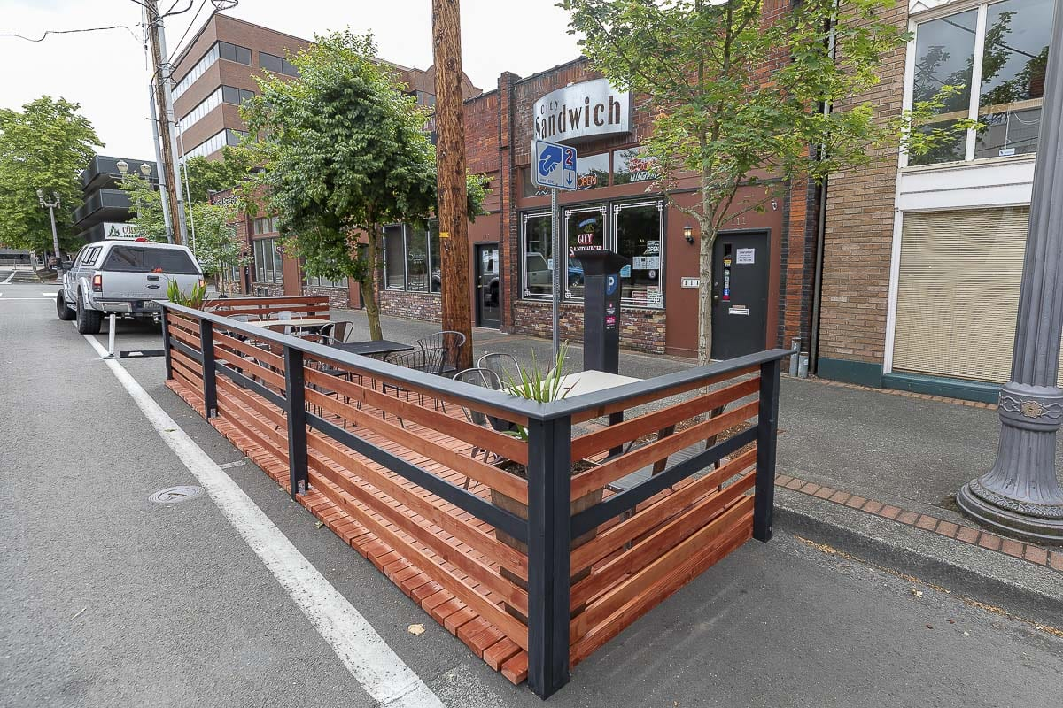 This parklet outside City Sandwich Co. was built by the manager's boyfriend at a cost of $4,000. Photo by Mike Schultz
