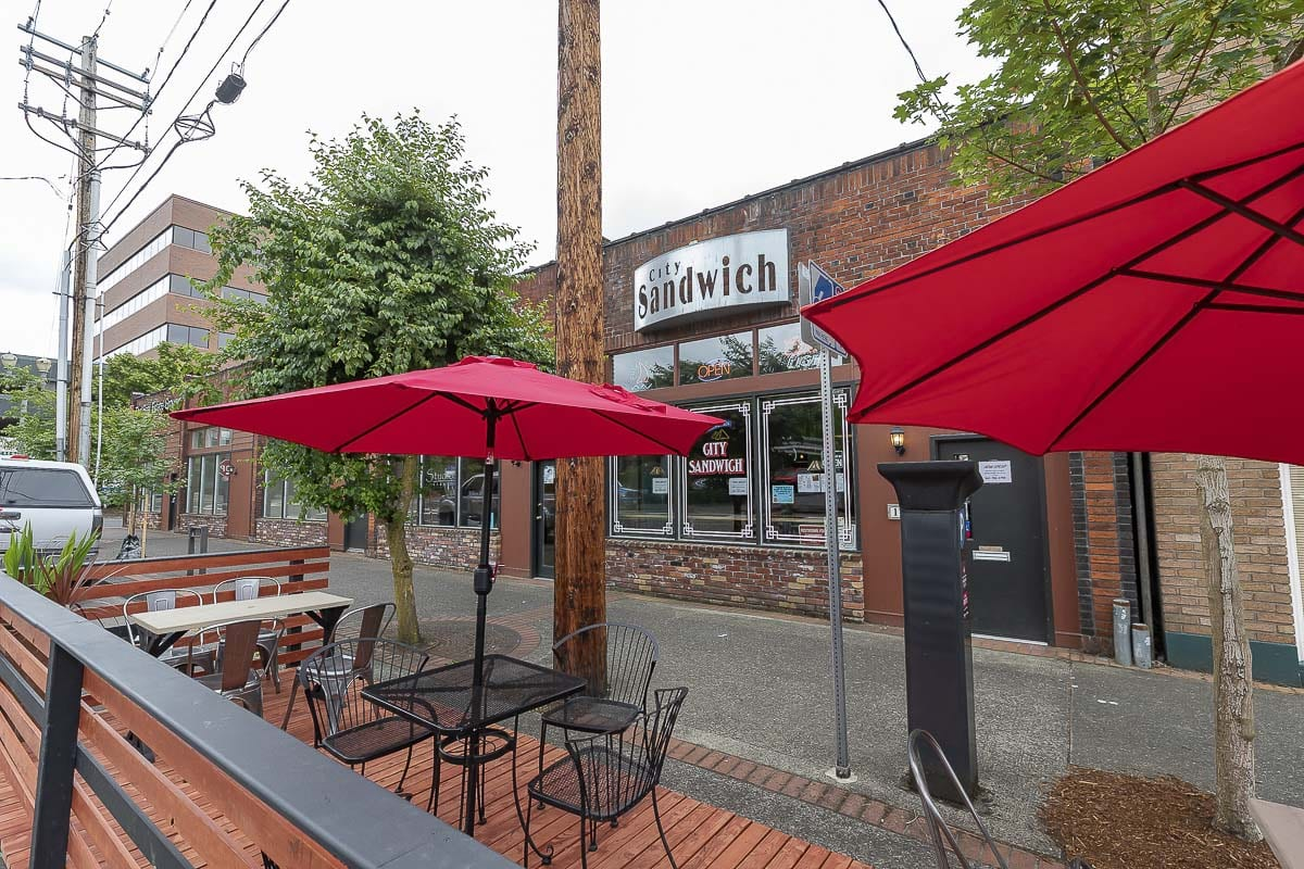 This parklet outside of City Sandwich Co. in downtown Vancouver can seat up to 12 people. Photo by Mike Schultz