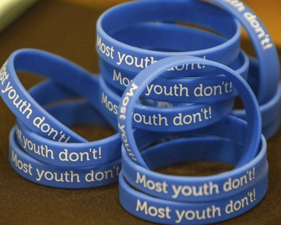 "These blue bracelets, that state ""Most youth don't!"" were available at a past Coffee with the Chief event in Battle Ground. Members of the D.R.E.A.M. Team, made up of youth from the community who were a part of the Prevent Together: Battle Ground Prevention Alliance, offered the bracelets to community members. Photo by Mike Schultz"