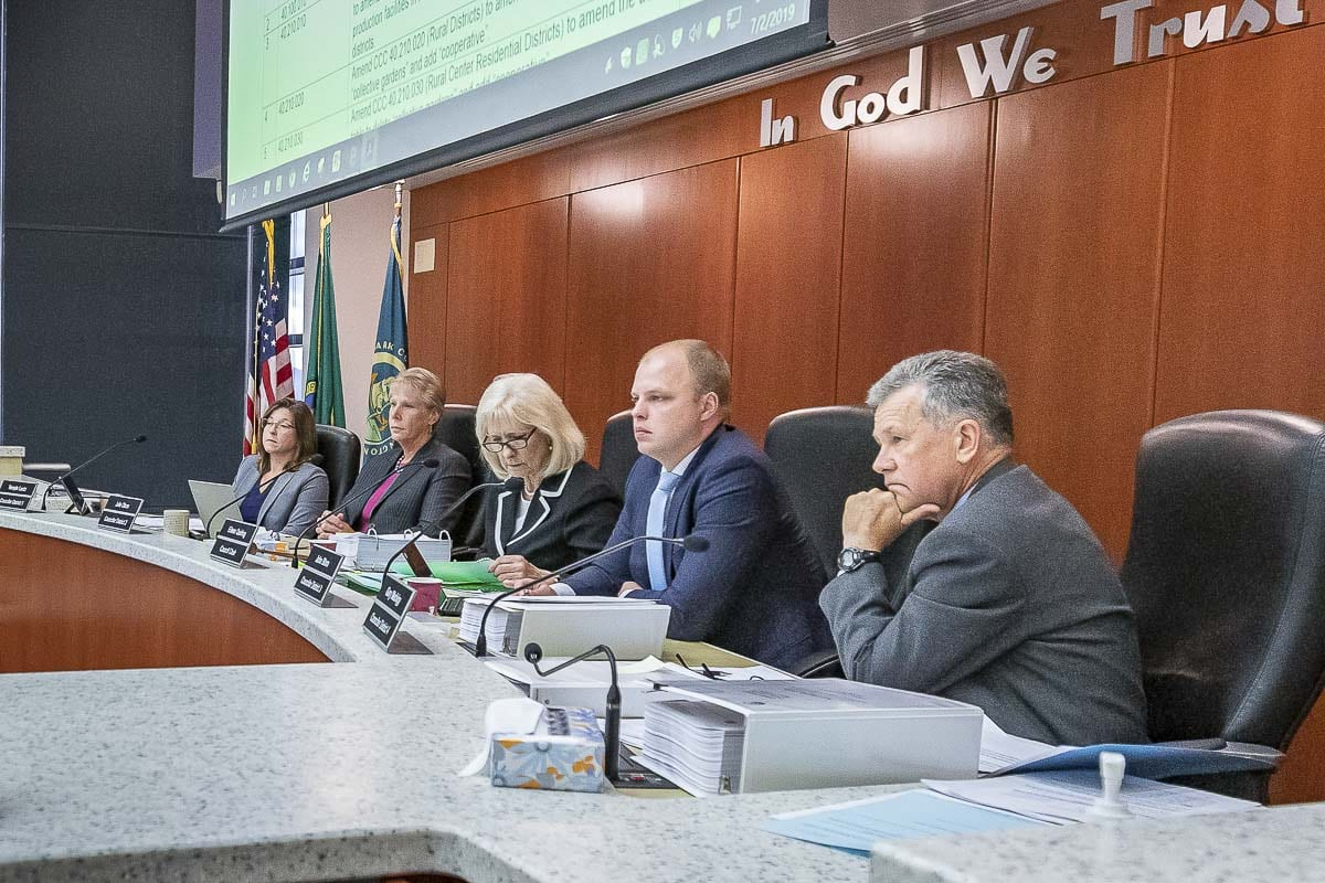 Members of the County Council are shown in this file photo. The councilors are attempting to deal with requests by area organizations for a listening session with the County Council to discuss system racism in Clark County. Photo by Mike Schultz