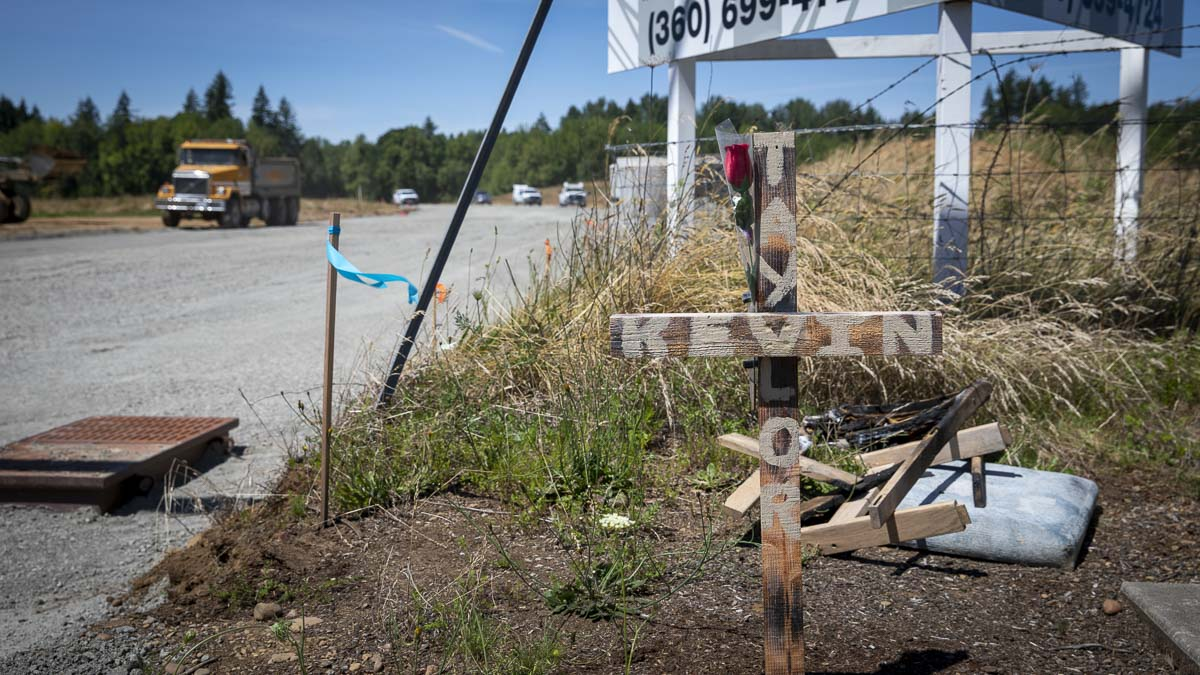 This memorial for Kevin Taylor, a Clark County man who was killed on his bike after failing to turn, is shown here at the site of his collision. Photo by Jacob Granneman