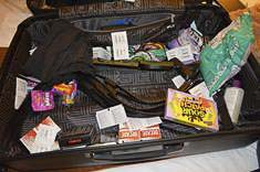 The bag left by a 39-year-old Florida man for a 14-year-old victim was found to contain a cell phone hidden in a box of gum packets, some chocolate bars and a love letter to the victim. Photo courtesy of Vancouver Police Department
