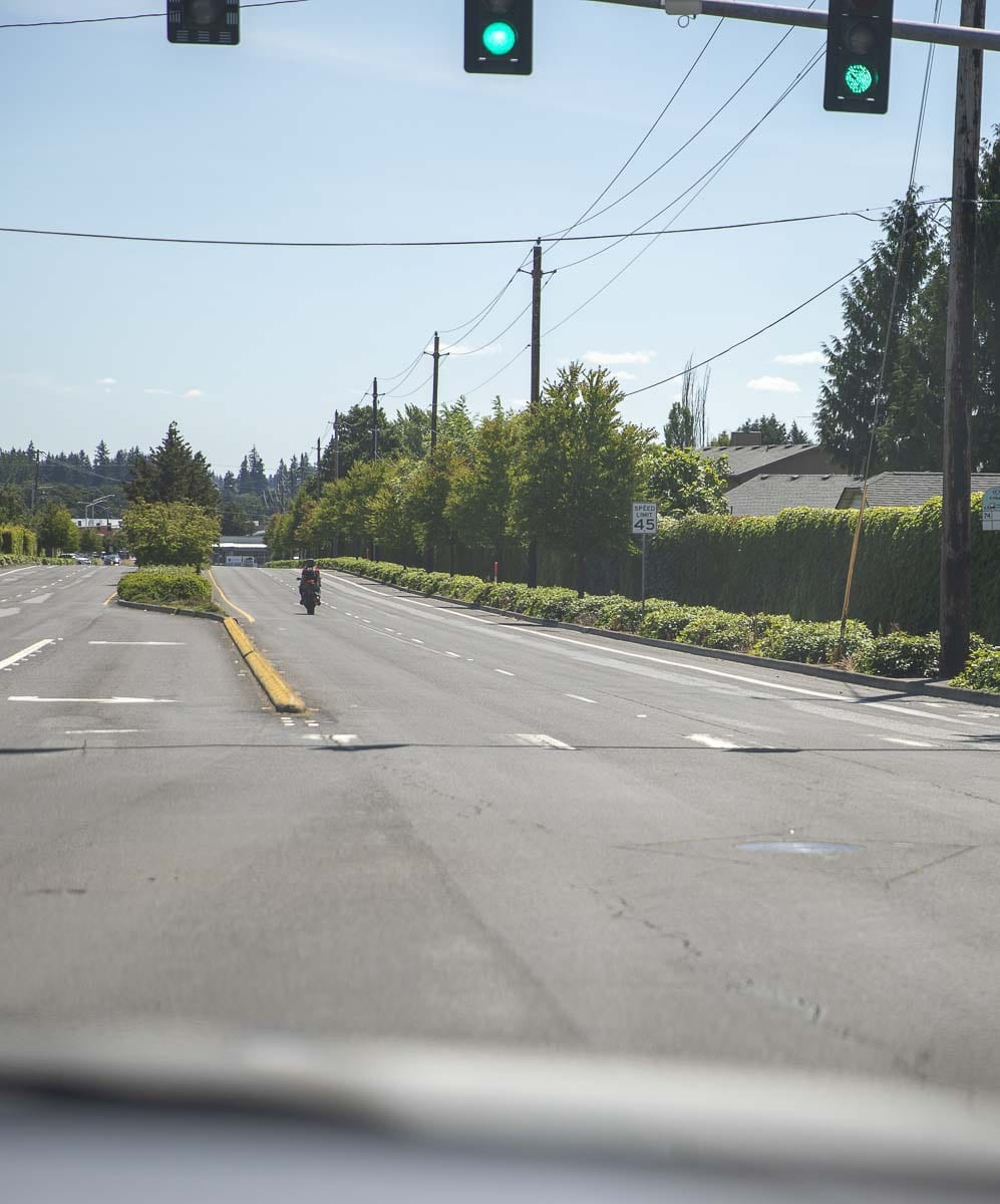 A motorcycle rider is seen here driving down the road in Clark County. Photo by Jacob Granneman
