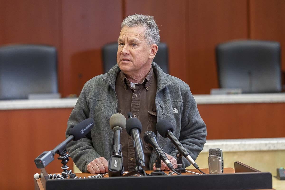 Clark County Councilor Gary Medvigy during a press conference earlier this year. Photo by Mike Schultz