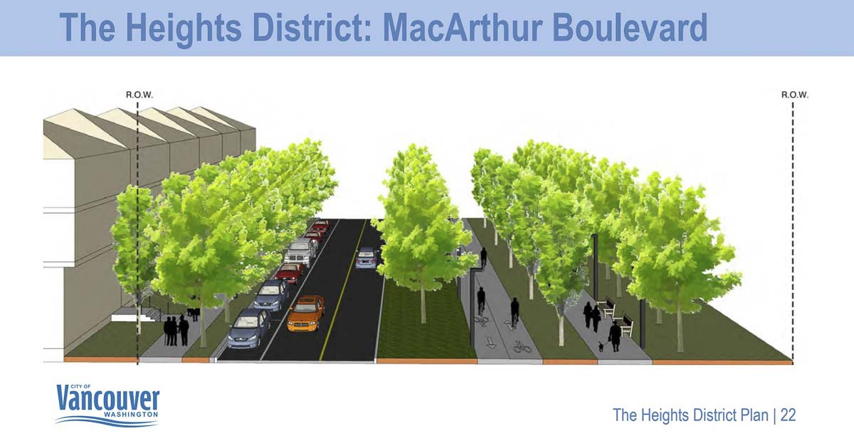 One concept of a realigned MacArthur Blvd through the redeveloped Heights District in Vancouver. Image courtesy Vancouver Department of Community and Economic Development