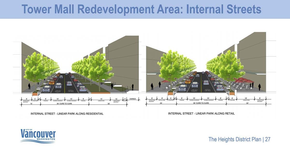 A look at the potential configuration of internal streets through the newly redeveloped Tower Mall site inside The Heights District in Vancouver. Image courtesy Vancouver Department of Community and Economic Development