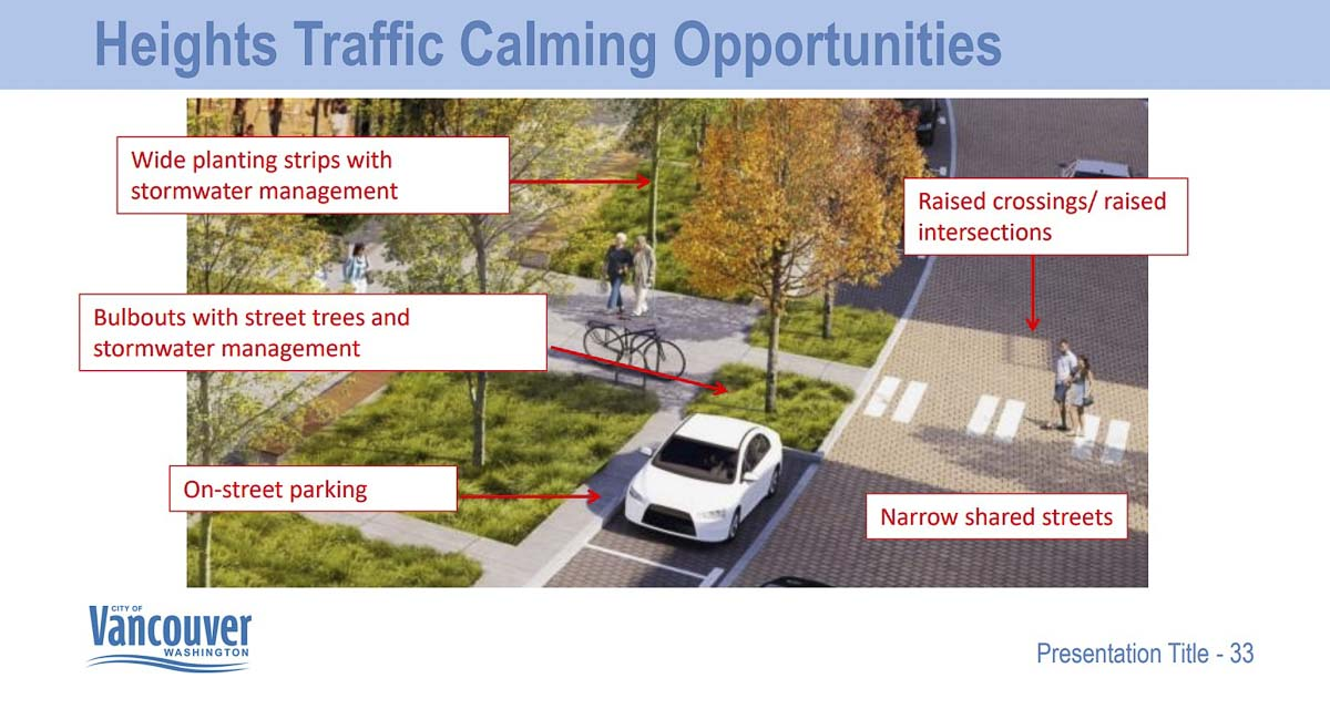 The city is exploring various ways to keep traffic from moving quickly through the fully developed Heights District redevelopment. Image courtesy Vancouver Department of Community and Economic Development