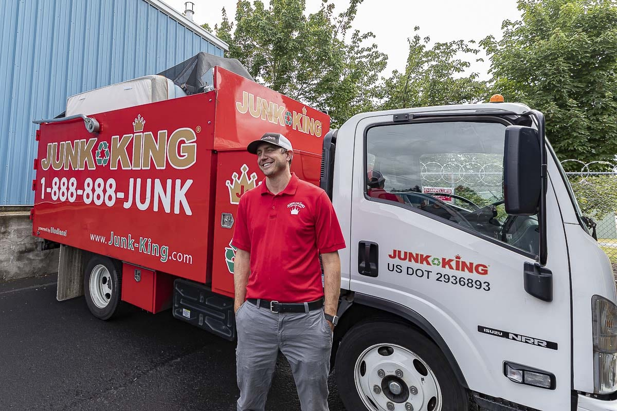 Jason Edge, who owns the Vancouver franchise of Junk King, said his business took a hit at the start of the pandemic. With so many staying at home, and cleaning up their homes, business has returned. Photo by Mike Schultz