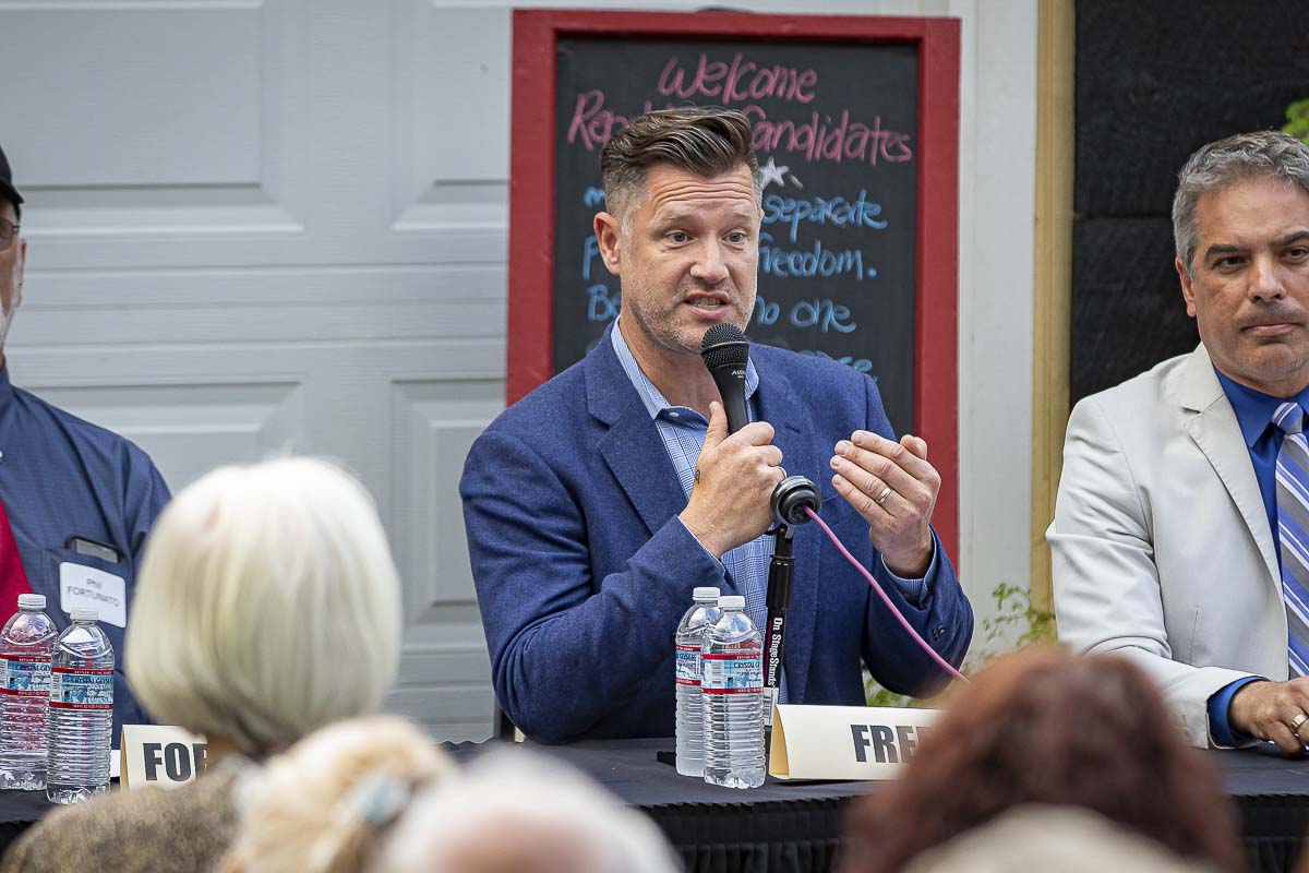 Joshua Freed, a candidate for governor, speaks at a Republican Gubernatorial Debate in Camas on Thursday. Photo by Mike Schultz