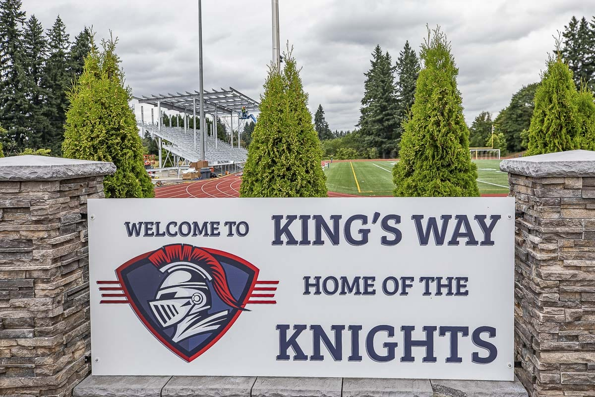 King's Way Christian built its grandstand last summer in time for the 2019 football season. The school decided last week to put its high school football program on hiatus. Photo by Mike Schultz
