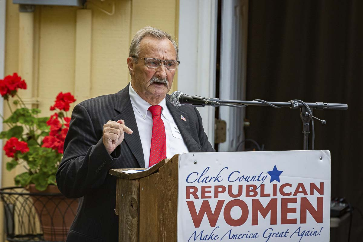 Martin Wheeler, a candidate for Washington governor, speaks at a Republican Gubernatorial Debate in Camas on Thursday. Photo by Mike Schultz