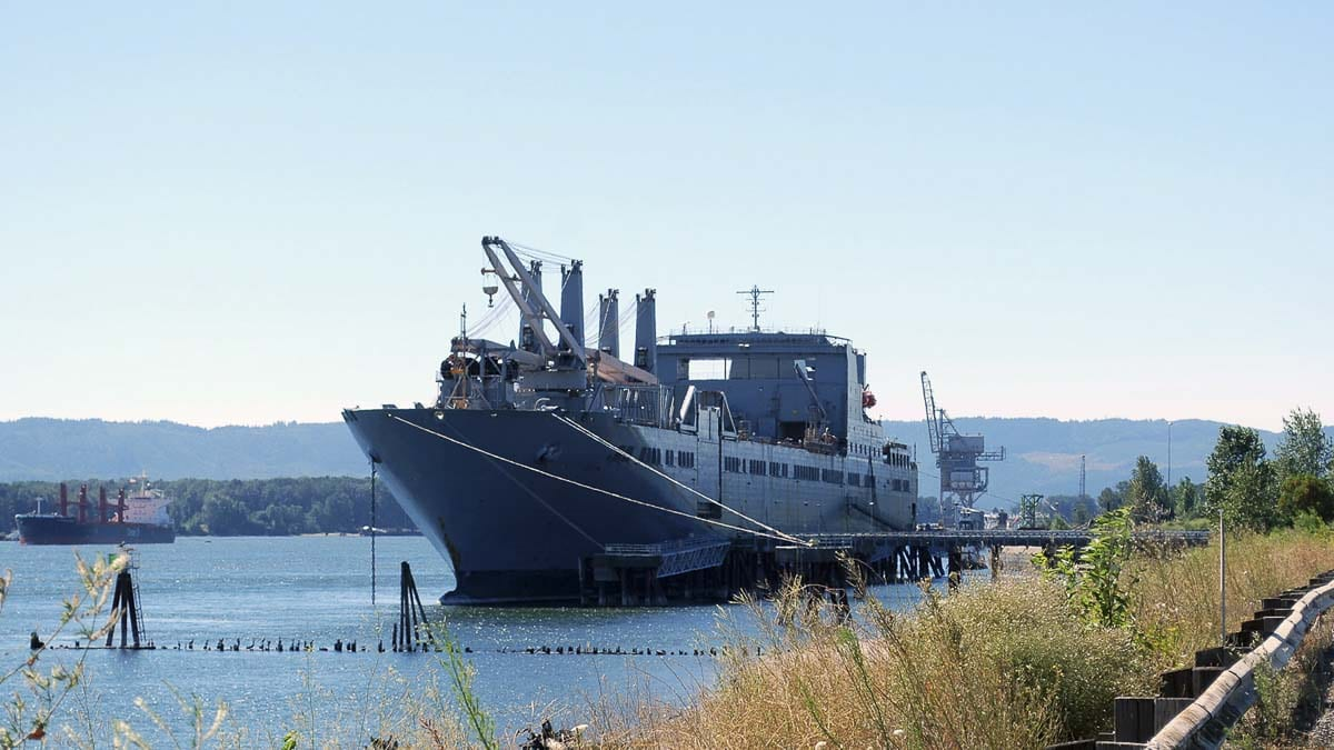 The USNS Brittin and its approximately 30-member civilian crew will be docked at the Port of Vancouver's terminals 13 and 14 and at 951 feet in length, will offer an impressive sight to river users and those able to view it from the Oregon side of the Columbia River. Photo courtesy of Port of Vancouver USA