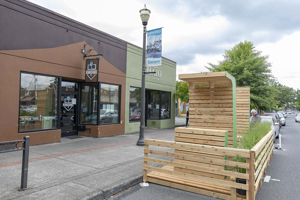 A parklet outside of Ice Cream Renaissance in downtown Vancouver, built by LSW Architects. Photo by Mike Schultz