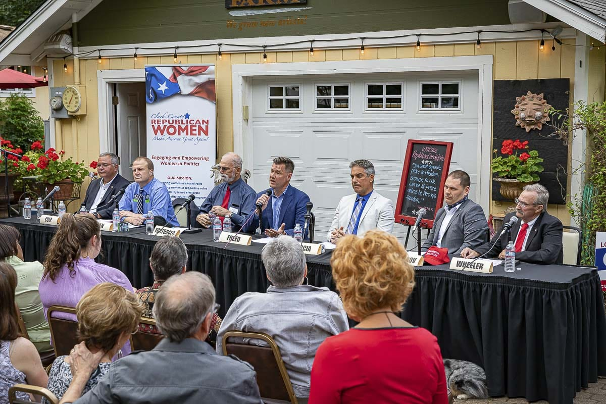 The seven Republican candidates for governor debate at Shangri-La Farms in Camas on Thursday. Photo by Mike Schultz