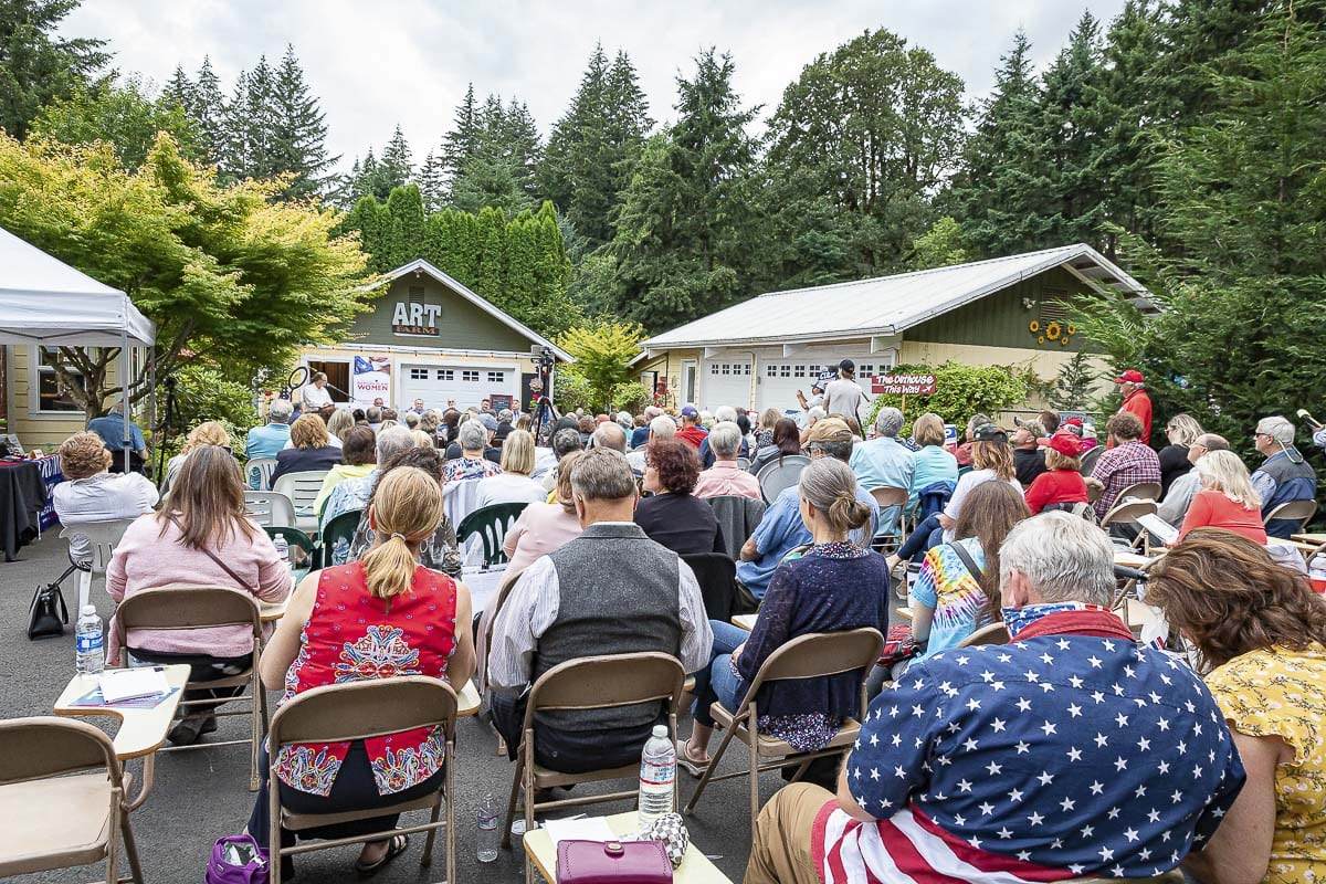 Over 100 people were invited to attend the lone Republican Gubernatorial debate, held at Shangri-La Farms in Camas on Thursday. Photo by Mike Schultz