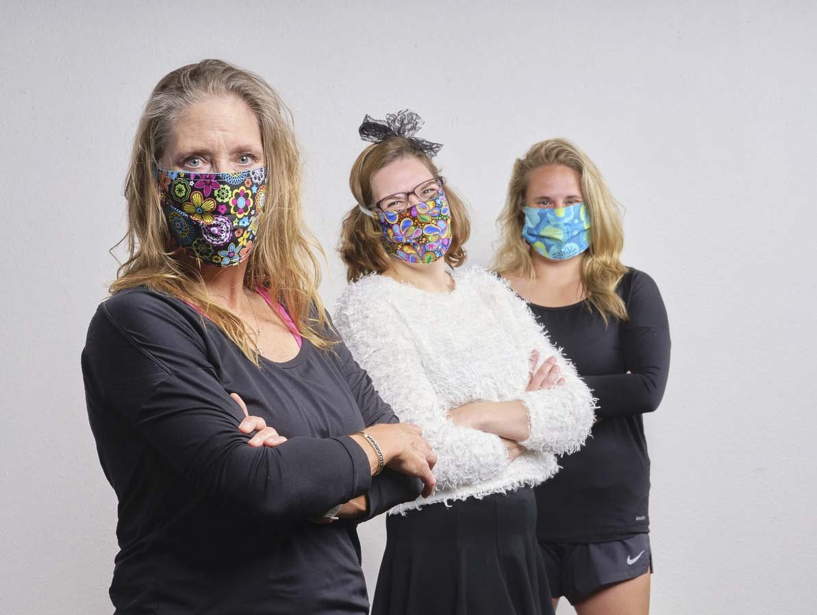 Stephanie Lynn (front) owner of Sweet Spot Skirts in downtown Vancouver is seen here with two of her employees sporting their store's custom face masks. Photo courtesy of Sweet Spot Skirts