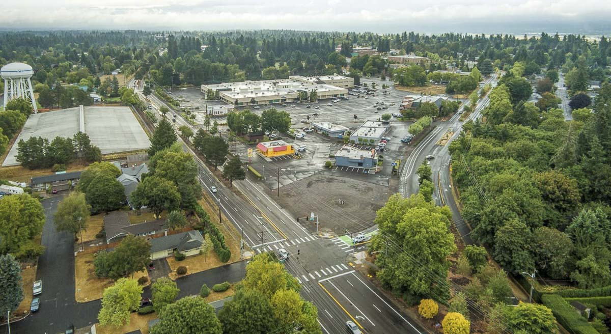 The Heights District Tower Mall site, aerial view. Image courtesy Vancouver Department of Community and Economic Development