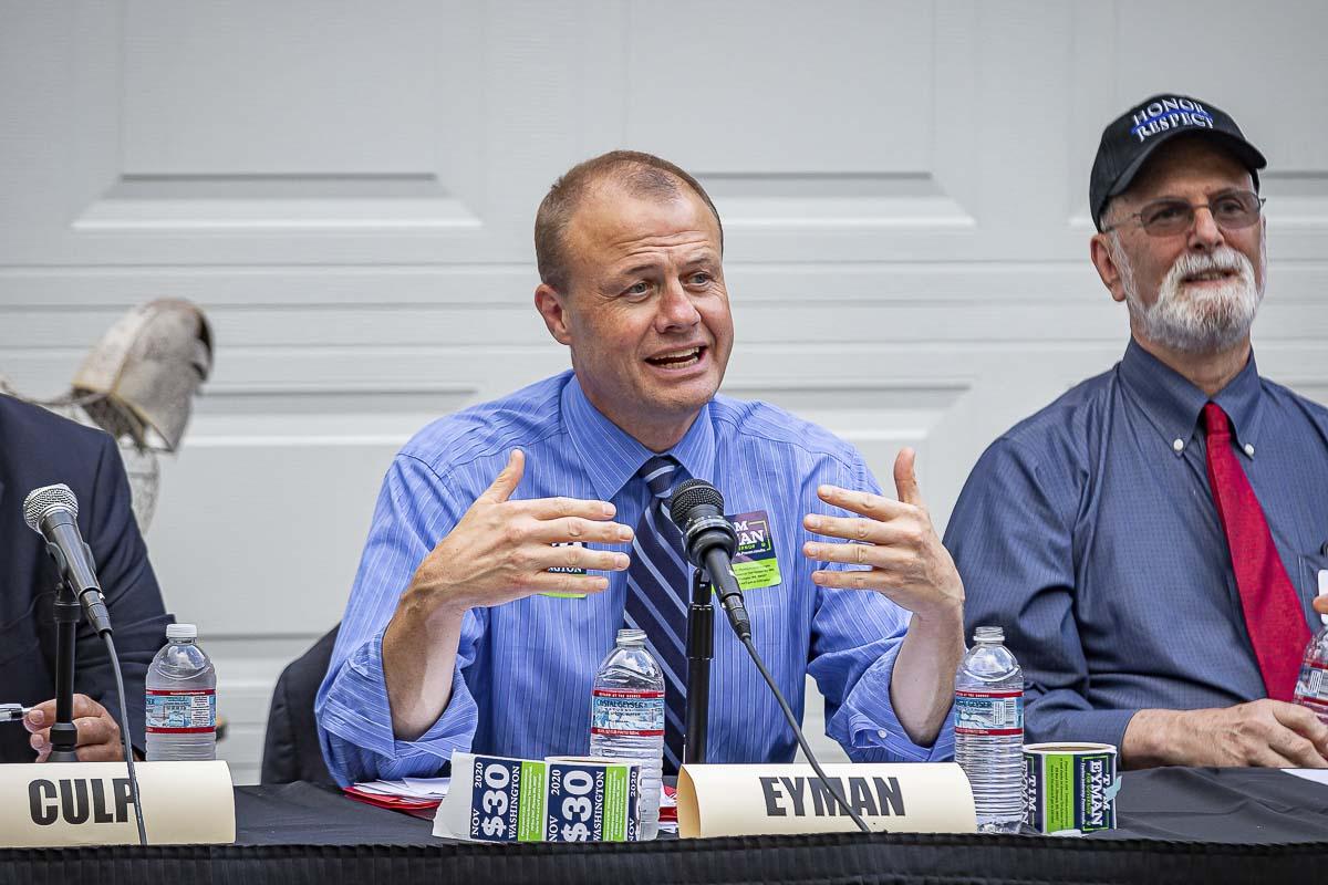 Anti-tax activist Tim Eyman speaks at a Republican Gubernatorial Debate in Camas on Thursday. Photo by Mike Schultz