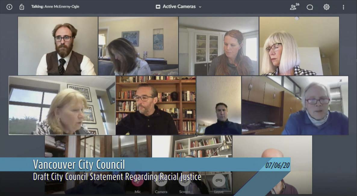 Members of the Vancouver City Council met virtually this week and among other topics, discussed and signed a statement on racial justice. Screenshot courtesy of CVTV