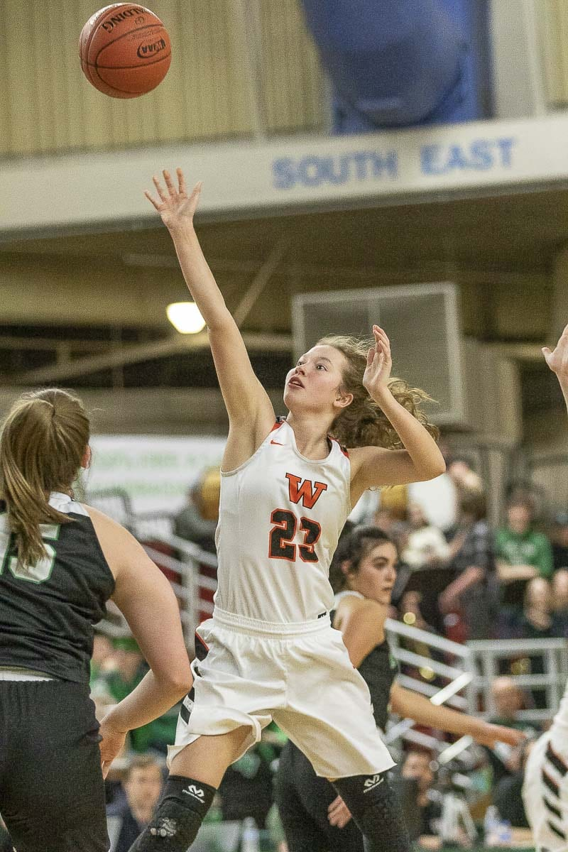 Sammy Mederos of Washougal, shown here in the 2019 state championship girls basketball game, also plays soccer and tennis for Washougal. Under the tentative WIAA sports calendar, she will not have a break in between any of her sports. Photo by Mike Schultz