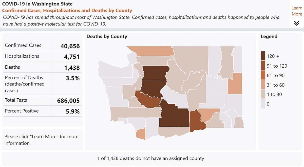 Data on the COVID-19 outbreak statewide as of July 11, 2020. Image courtesy Washington State Department of Health