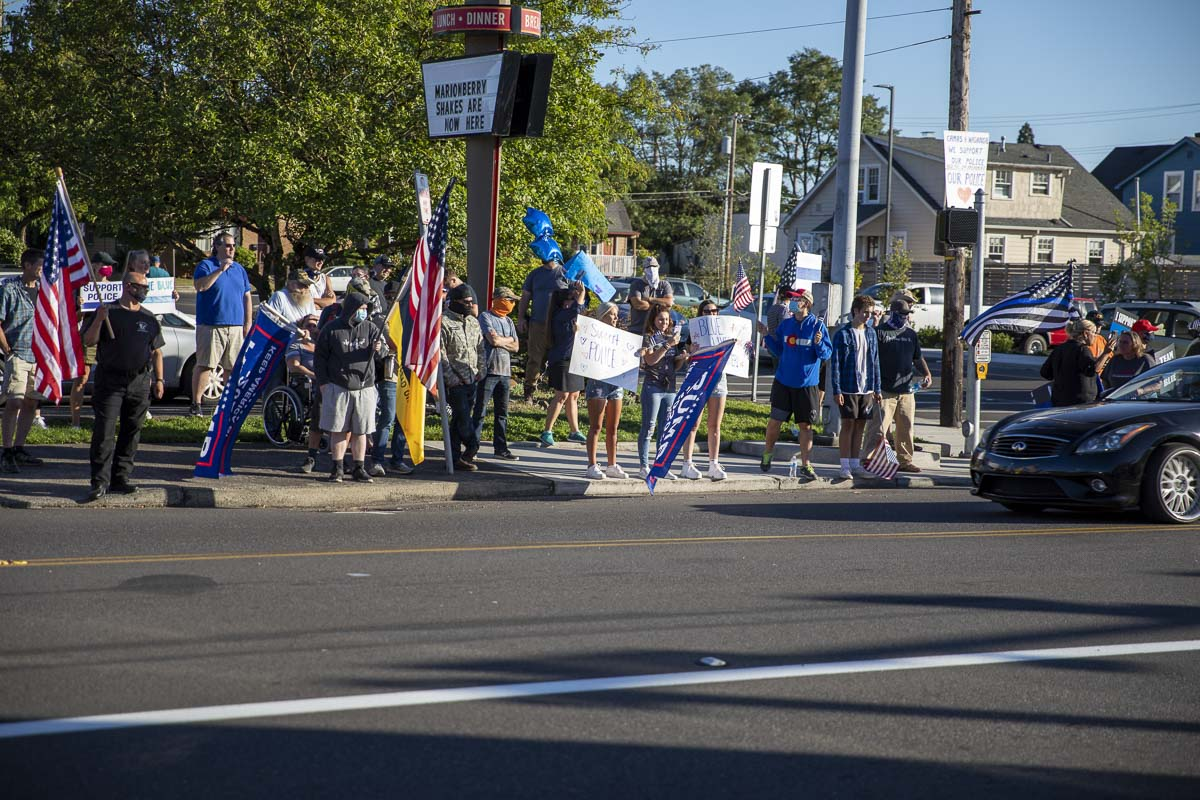 Folks there for the Rally for the Blue made their way toward the intersection of NE 3rd and Dallas, as well. Photo by Jacob Granneman