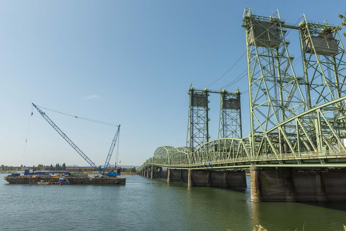 A barge carries replacement parts for the Interstate Bridge northbound span up the Columbia River on Aug. 4. Photo courtesy Oregon Dept. of Transportation