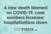 A new death blamed on COVID-19; case numbers increase; hospitalizations down