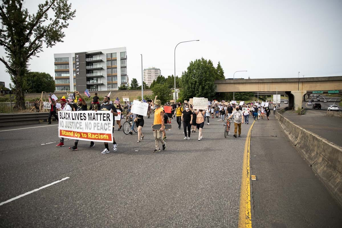 Hundreds of protestors marched onto Interstate 5 from Esther Short Park on June 19. WSP and WSDOT closed the freeway as a result. Photo by Jacob Granneman