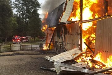 Clark County Fire & Rescue responds to fully involved barn fire in Duluth