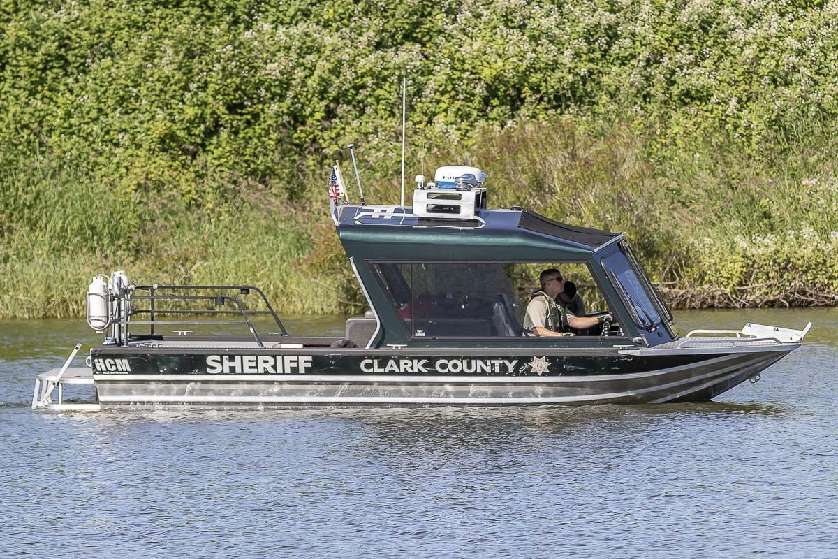 The actual CCSO marine patrol unit is seen here, which both agencies agree was the intended target of the vulgar tagging. Photo by Mike Schultz